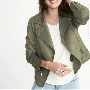 Old Navy Olive Suede Motto Jacket - Size Small